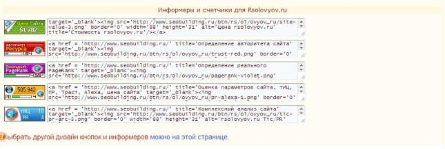 Информеры и счетчики для Rsolovyov.ru