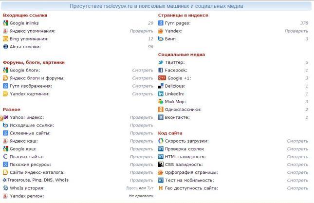 Присутствие rsolovyov.ru в поисковых машинах и социальных медиа